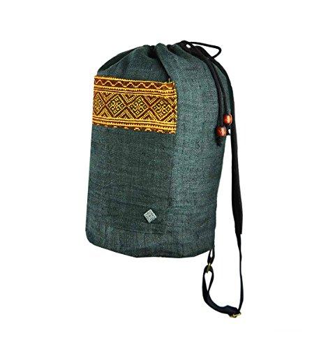virblatt Rucksack und Umhängebeutel aus 100 % Hanf verziert mit handgewebten asiatischen Ethno Mustern als alternative Kleidung – Gerechtigkeit (Kleidung Verziert)