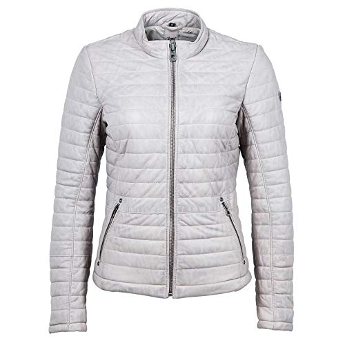 Gipsy Damen Lederjacke Baya LNB W Stepp-Optik (M, Light Grey)