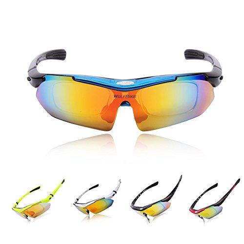 WOLFBIKE BYJ-013 Sonnenbrillen Außen Skilaufen Radfahren Fahrräder und andere Sport-Schutz mit 5 Paar Wechselgläsern(Blau)
