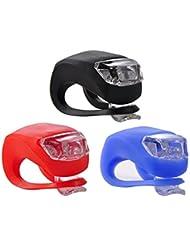 Fahrradlicht Led Set,iBuger Fahrrad Licht Fahrradbeleuchtung für Sicherheit Wasserdicht Silikonleuchte Frontlicht Fahrrad Scheinwerfer Lampe Rot/Weiß/Blau