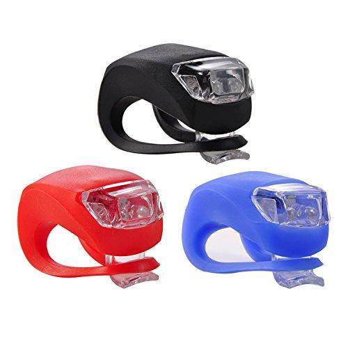 Fahrradlicht Led Set,iBuger Fahrrad Licht Fahrradbeleuchtung f&uumlr Sicherheit Wasserdicht Silikonleuchte Frontlicht Fahrrad Scheinwerfer Lampe Rot/Weiß/Blau