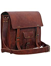 Anshika International Genuine Vintage Brown Leather Messenger Shoulder Laptop Bag For Upto -15 Inch Laptop