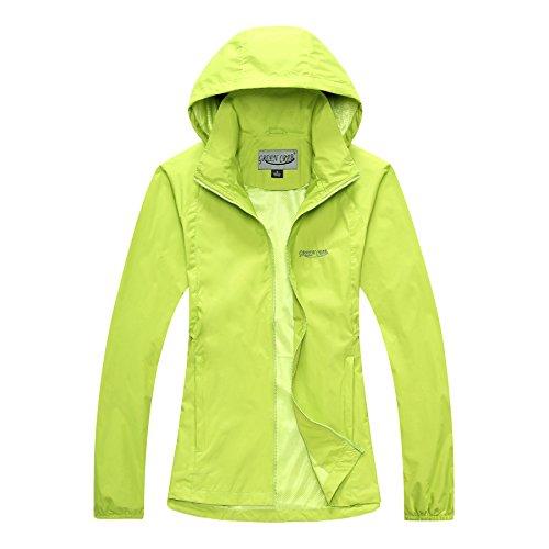 b0e2cd3ca514cc Green Crab Damen Winddicht Wasserdicht Sonnenschutz Anti-UV Jacke Regenjacke  Atmungsaktiv Leicht Kapuze Zip Mantel