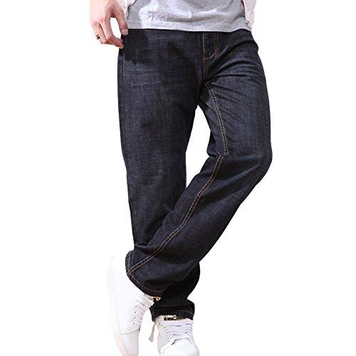 OCHENTA Herren lange Jeanshosen Plus Groesse Elastisch aus reiner Baumwolle Schwarz