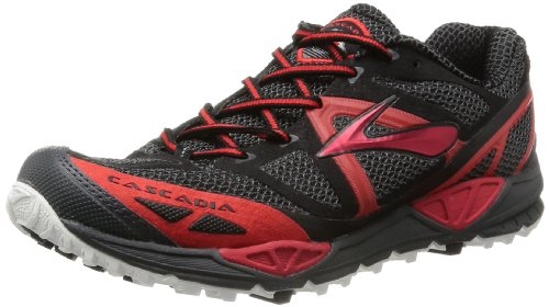 Brooks Cascadia 9 - Zapatillas de running para hombre, material sintético, color negro/rojo (anthracite/high risk red/black), talla 40.5