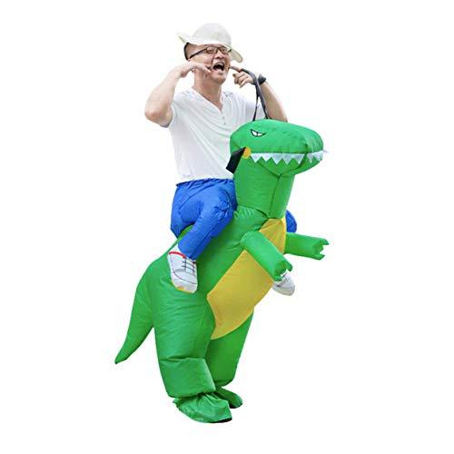 Banbie8409 Aufblasbares Dinosaurier-erwachsenes Kostüm Halloween-Requisiten REIT-auf Tierspaß-Spielzeug-Grün-