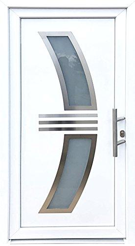 Nr.4 Wohnungstür, Mehrzwecktür, Haustür in weiß 1,0 x 2,10 m,Innen R,Neu, Hauseingangstür, Designertür, Kunststoff Tür, Tür mit Glaseinsatz, Luxustür