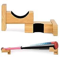 fervory 2PCS Soporte para Bate De Béisbol Bastidor De Exhibición De Bate De Béisbol Soporte De Bate Montado En La Pared De Bambú para Colocar El Bate De Softball Palo De Hockey