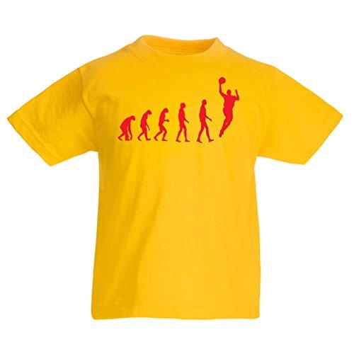 Kinder T-Shirt Evolution Basketball - Street Basket, ich Liebe Dieses Spiel, tolles Fan-Geschenk (5-6 Years Gelb Rote)