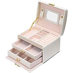 Coffret Boîte à bijoux Boîte Cosmétique à Trois Couches en Simili Cuir Boîte de Rangement de Stockage avec Miroir et Serrure, Cadeau Féminin (Blanc)