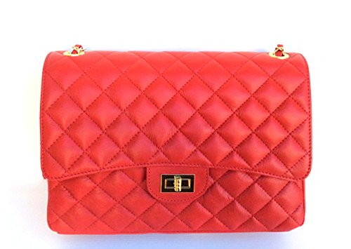 Superflybags Damen Handtasche Echtes Leder Gesteppte Nappa Model Parigi XL Made in Italy Rot
