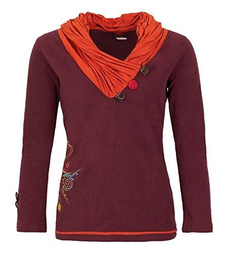 Elfen Fleece Pullover mit außergewöhnlichem Kapuzenkragen, Size/Größe:36;Farbe:Bordeaux