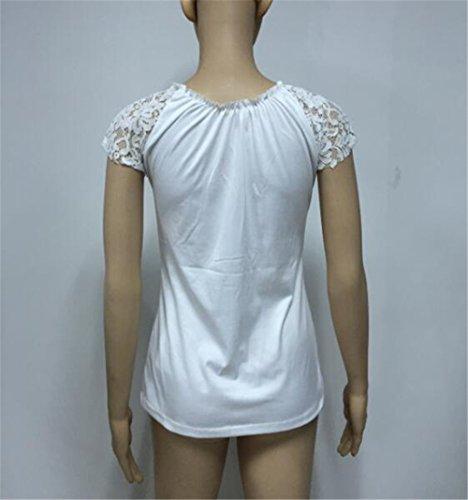 DaBag T-shirt Donna Camicetta Blusa Maglia Senza Maniche Casual Elegante Cotone Sexy V-collo Bianco