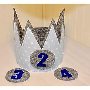 Geburtstagskrone Der Wollprinz Krone, Kinder Geburtstag-Krone Kinderkrone Geburtstagskrone, Stoffkrone Blau mit den Zahlen 2,3,4