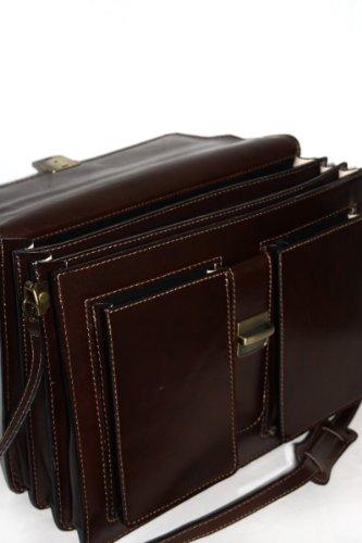 Leder Aktentasche Aktenkoffer mit Schulterriemen Laptop geeignet Italy Mod.2020-p Dunkelbraun Dunkelbraun