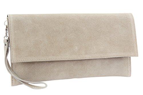 AMBRA Moda Pochette da giorno da donna Borse a mano clutch in vera pelle scamosciata WL811 (beige scuro)