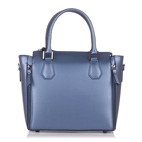 Laura Moretti - Handtasche aus Metallic-Leder (Suede Handtasche Metallic)
