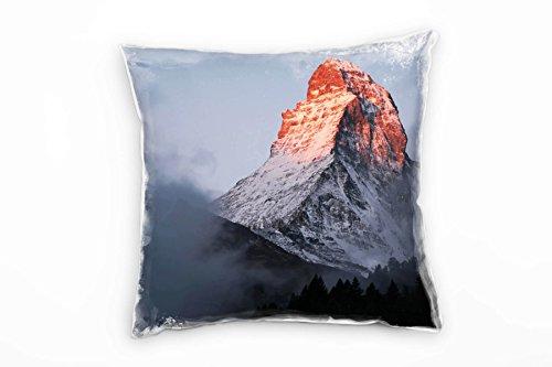 Paul Sinus Art Landschaft, Grau, Orange, schneebedeckter Berg Deko Kissen 40x40cm für Couch Sofa Lounge Zierkissen - Dekoration Zum Wohlfühlen Hergestellt in Deutschland