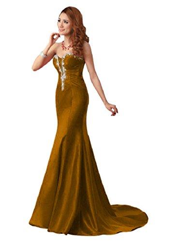 Beauty-Emily Kristall Meerjungfrau, trägerlos, lang Abendkleider Braun - Braun