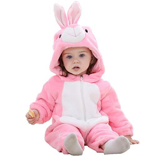 Affeco pagliaccetto cartone animato cerniera anteriore in flanella invernale morbido con cappuccio tuta pink rabbit 12-18m