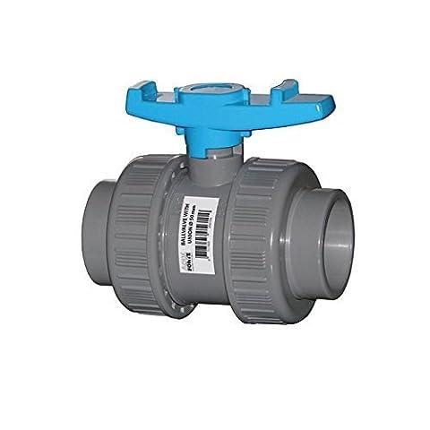 AquaForte PVC Kugelhahn mit beidseitigen Überwurf, 40 mm, blauer Griff
