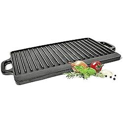 Big-BBQ Seasoned Plaque de cuisson et grill en fonte pour barbecue 38 cm