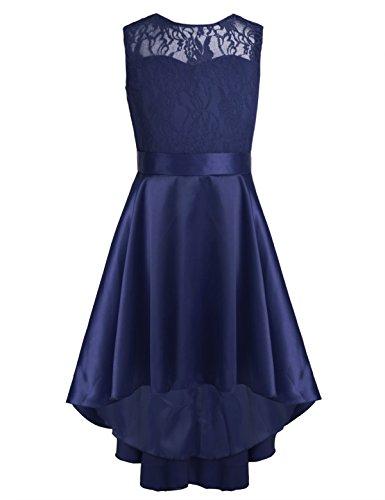 YiZYiF Festliches Mädchen Kleider Prinzessin Brautjungfern Kleider Festlich Hochzeit Party Blumenmädchen Kleid Festzug Marineblau 152