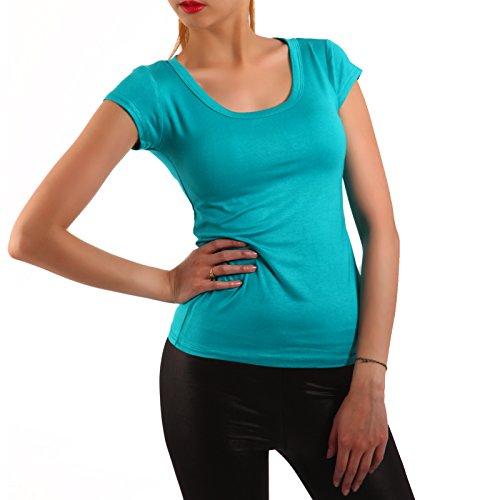 Young Fashion Strech Basic T-Shirt Rundhals-Ausschnitt Shirt Damen Uni 34-40 Türkis