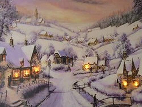 UK-Gardens Weihnachtsbild, Motiv Dorf und Pub, mit LED-Lichtern, batteriebetrieben, mit Timer, Leinwanddruck mit Faseroptik, 40 x 30 cm