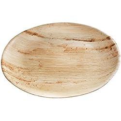 kaufdichgruen 25x Plato de hoja de palmera | Ø 23cm, redondo | 100% biodegradable, compostable | textura individual | estable y robusto | para barbacoas y fiestas en el exterior