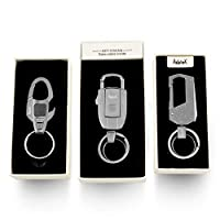 Adorox Stylish Luxury Gift Set of 3 Heavy Duty Stainless Steel Carabiner Key Chains with LED-Light Bottle-Opener Multi-Tools Cigarette-Lighter