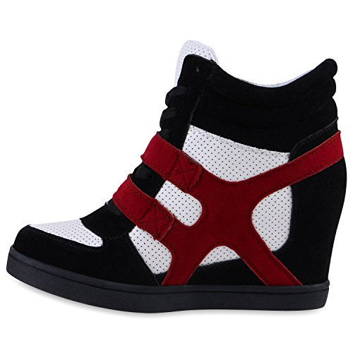 Stiefelparadies , chaussures compensées femme Schwarz Weiss Rot