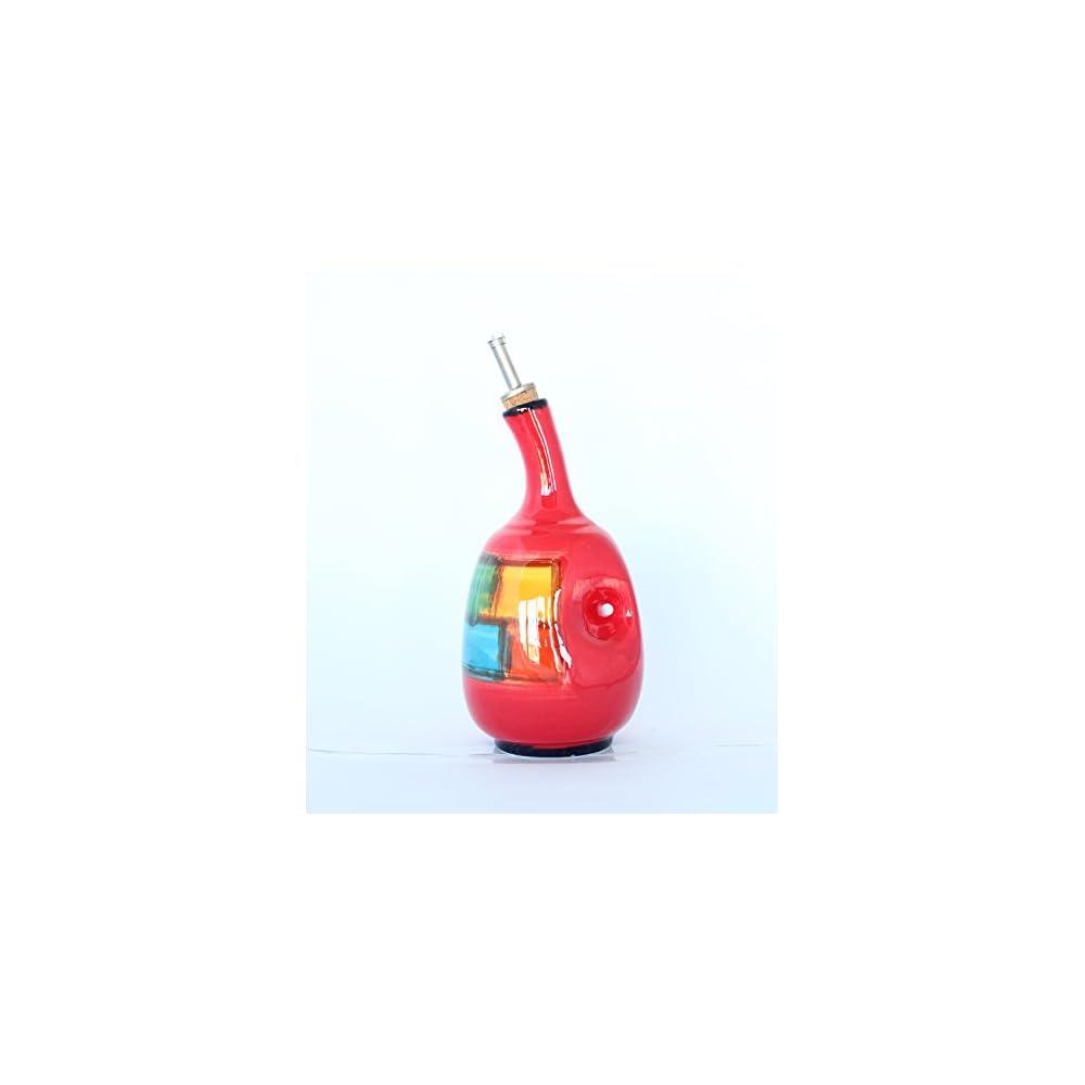 Lflascheessigflasche Keramik Mit Edelstahl Tapon Handgefertigt Und Handbemalt 26 Cm
