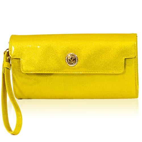5bb36bb945 Valentino Orlandi - Italienischer Designer - Metallic-Gelber Clutch aus  Leder