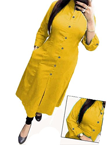 Ganga Saree and Dress Materials Exclusive Collections Casual Solid Cotton Kurti (S,...