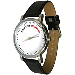Time For Shopping design watch with a genuine leather strap