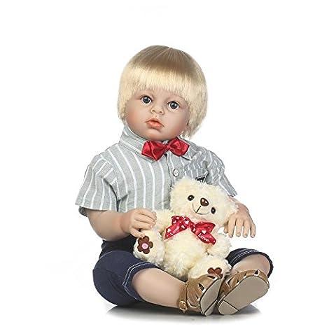 Silicone Reborn Baby Dolls Toy 70cm 28inch Blonde Hair Boy Reborn Toddler Babies Doll Toy With Bear Girls Birthday Gift Kids Clothing Model