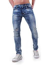 Instinct Jeans Uomo Slim Fit Risvolto Elasticizzati Denim Grigio Blu Skinny Cotone WA96