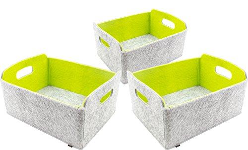 *3er Set hochwertiger, faltbarer Aufbewahrungskörbe von Luxflair aus edlem, zweifarbigem Filz in graumeliert/grün (+ weitere Farben). Länge 30cm, Breite 24cm, Höhe 15cm. Aufbewahrungskorb, Ordnungsbox, Regalbox, Faltbox, Spielzeugkorb, Filzkorb, Briefkorb. Besonders pflegeleicht: waschbar bei 30°*