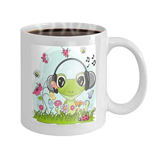 11 oz Coffee Mug Cute Cartoon Frog Meadow Cute Cartoon Frog Meadow Flowers Butterflies Variegated Novelty Ceramic Gifts Tea Cup Butterfly Meadow-chip