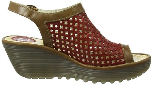 Fly London P500734009, Sandali con Zeppa Donna Rosso (red/camel 005)