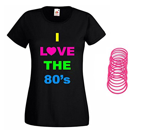 Ladies I Love the 80s T-shirt with pink jelly bracelets