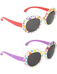 Stol'n Kids Oval And Printed Sunglasses Combo Pack Of 2 Pieces For Girls/Multicolour And Red/Multicolour And Purple...