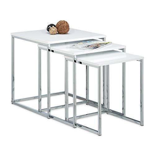 Relaxdays 10020360 Table gigogne lot de 3 HxlxP: 42 x 40 x 40 cm table basse appoint plateau carré en bois avec pieds en métal bout de canapé, blanc