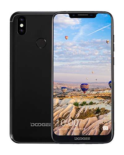 DOOGEE BL5500 Lite Telefonos Moviles Libres 4G, Android 8.1 Smartphones Libres Doble SIM 19:9 Pantalla 6.19'', 5500mAh Batería, Quad-Core 2GB RAM 16 GB ROM, 13MP+8MP+5MP, Huella Digital, Negro