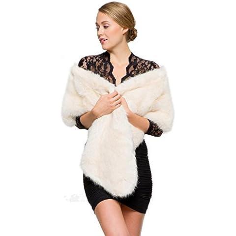 Adelaqueen Scialle Bianco Beige Classico Eco-pelliccia di Visone Inverno Festa di Nozze Della Donna - Pelle Amici Cintura
