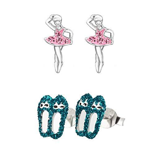 FIVE-D Set aus 2 Paar Kinder Ohrringe Balettschuhe und Tänzerin aus 925 Silber im Geschenketui (Blau)
