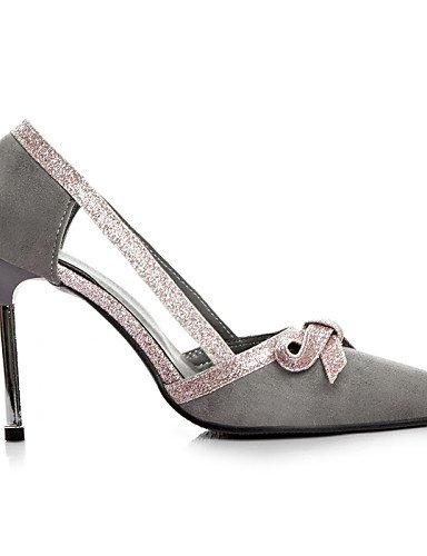 WSS 2016 chaussures polaire d'été des femmes / pointue de bureau orteil talons&carrière / casual talon aiguille bowknot / creux en noir / gris gray-us7.5 / eu38 / uk5.5 / cn38