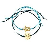 quanju cheer 2Pcs/Set Turtle Compass Charm Adjustable Bracelet Female Accessories Anklet Women Beach Jewelry For Your Girlfriend - Blue 2