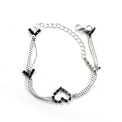 Wudi 1 Pc Fancy Braut Silberhochzeit Kettenarmband Herz-Kristallschmucksachen Fußkettchen